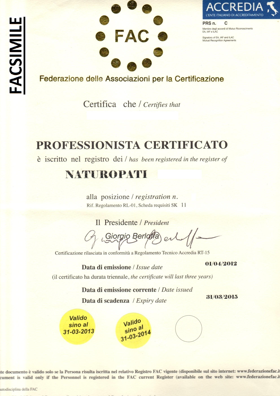 FAC-SIMILE Certificazione Naturopati